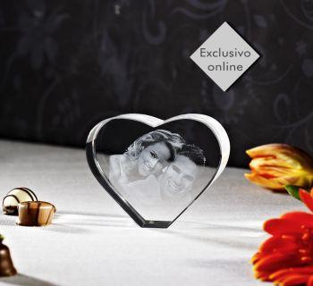 Coração de *Cristal C/ foto 2D - 80x65x35mm - 1 a 2 pessoas