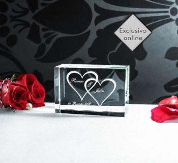 *Cristal Corações + Nomes  Esculpido em Vidro - 90x60x30mm